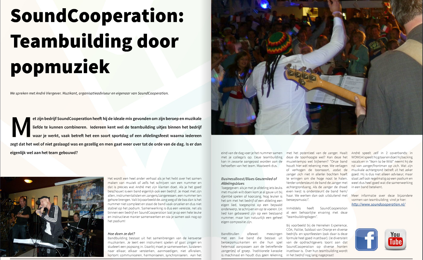 Artikel over de teambuilding door SoundCooperation in Live Podium